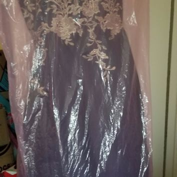 Pre-owned Betsy  & Adam Ball Formal Party Wedding Navy Gold Dress Size:14 + Faux Fur Bolero