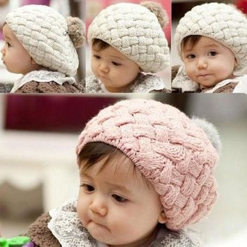 ICIKIX3 Cute Baby Infant Girls Toddler Winter Warm Knitted Crochet Hat Cap Beanie 7_S = 1917003268