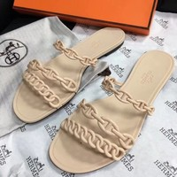 Hermes Pig nose three chain jelly jelly sandals women shoes slippers