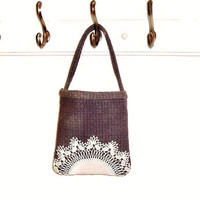 Small purple check wool doily bag