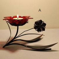 Candle Holders-Red Flower