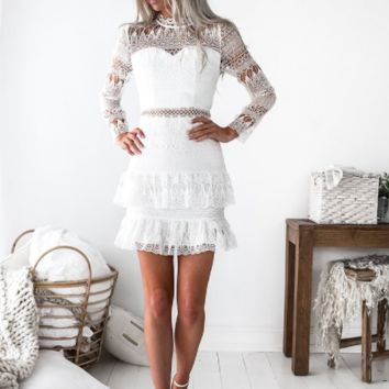 Maven White Ruffle & Lace Dress