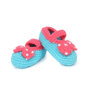Cute Boys Baby Infant Hand-Woven Soft Woolen Knitting Toddler Shoes Handmade Knit Infant