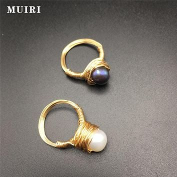 Big Party Ring Gold Color Rings for Women Natural Beads Female Ring Simple Design Fashion Jewelry Handmade New Gifts for Friends