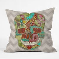 Sharon Turner Flower Skull Throw Pillow