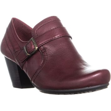 BareTraps Haydon Buckle Strap Low Ankle Boots, Burgundy, 6.5 US