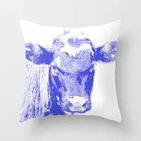 Blue Cow, Pillow Cover, 16x16,18x18,20x20, home decoration, rustic, farm, blue,white,filter, Animal,country living,decorative pillow, kids