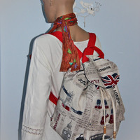 Britisih Postcard Prints Large Backpack / British Flag/London Backpack  /School/Travel Bag