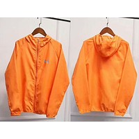 """Under Armour"" Multi-Color Hooded Zipper Cardigan Sweatshirt Jacket Coat Windbreaker Sportswear Orange I-AA-XDD"