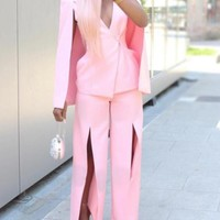 New Pink Clock Cape Slit Two Piece Wide Leg Deep V-neck Office Worker/Daily Long Jumpsuit