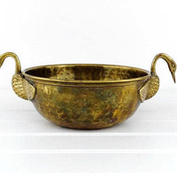 Vintage Hammered Brass Bowl Planter Swan Handles Flower Pot Holder Plant Decorative Container
