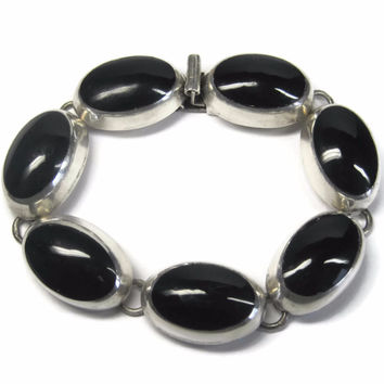 Chunky Vintage Mexican Sterling Onyx Bracelet 7 Inches
