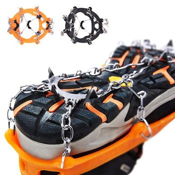 Non-slip Claws Ice Crampons 8 Teeth  Manganese Steel &amp Stainless Steel Gripper Ski Snow Cleats Hiking Climbing Shoes Chain Co