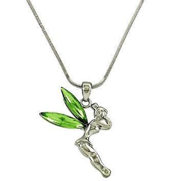 DianaL Boutique Disney Fairy Tinkerbell Pendant and Necklace Green Ctystals Gift Boxed Tinker Bell Fashion Jewelry