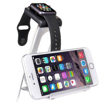 ICIK4S2 SPARIN Apple Watch Series 3 / 2 Stand, Aluminum Changer Stand Dock Holder with Premium Stylus Pen for All Apple Watch Models and iPhone, Silver