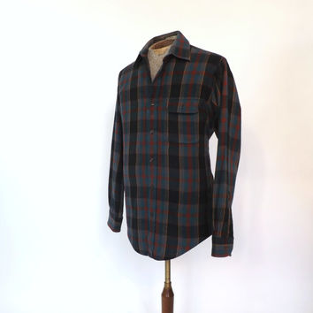 Vintage Men's 1980s 90s Plaid Winter Shirt Western Form Fit Long Sleeve Cowboy Button Up Rugged Shirt Hipster Boho Folk Lumberjack Shirt