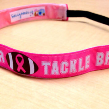 Tackle Breast Cancer Sassy Headband.  by SazzyBands on Etsy