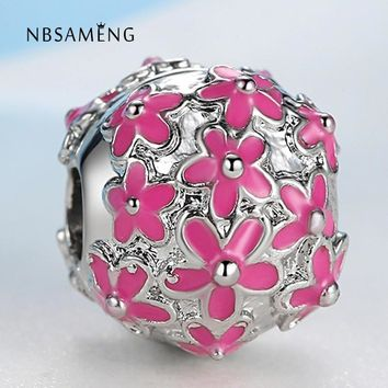 New Silver Plated Bead Charm Enamel Daisy Flower Safety Stopper Clip Beads Fit Pandora