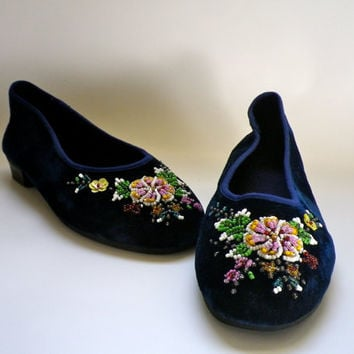 Vintage Blue Velvet Beaded Ballet Flats // Chinese Slippers with Floral Beaded Toes //Womens Size 5 // Youth Girls Shoes Size 3