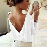 "Women's White Deep Back ""V"" Loose/Flowy T-Shirt Top"