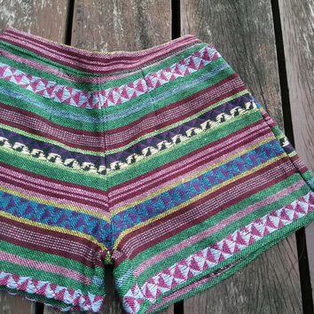 size S Shorts Tribal Hmong Handwoven Beach Hippie Boho Clothing Aztec Ethnic Party Shirt Ikat Print Tank Handmade Unique Woven Tribe Spirit