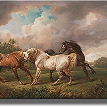 Three Horses by Towne, Picture on Stretched Canvas, Wall Art Decor, Ready to Hang!