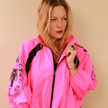 Vintage - 80s/90s - NEON PINK & Black - Sunset Beach - Palm Tree - Surfer - Slouchy - Windbreaker - Zip Up - Cropped Jacket