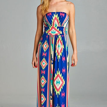 Tribal Print Maxi Dress - Royal