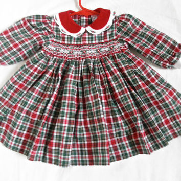 Vintage Baby Girl Dress Smocked Red Plaid Clothing Gently Used Vintage Baby Photo Prop Size 6 Months Christmas Holidays Dresses Photography