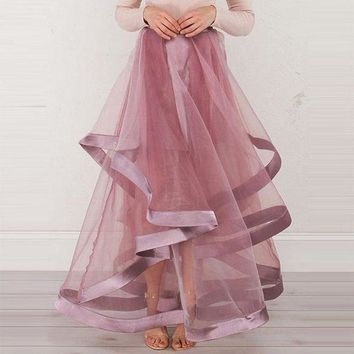 DCCKON3 young 17 skirtasymmetrical pink see through patchwork sweet cute elegant skirt pink floor length skirt