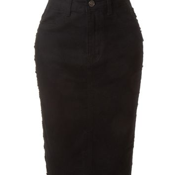 LE3NO Womens Stretchy Ripped Sides High Waisted Denim Pencil Midi Skirt