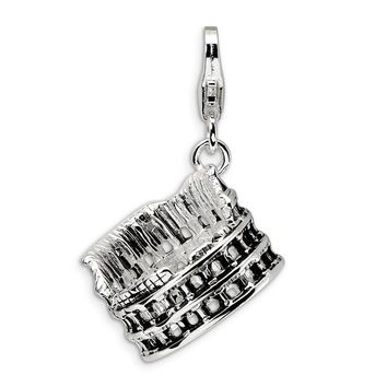 Sterling Silver 3-D Antiqued Colliseum w/Lobster Clasp Charm