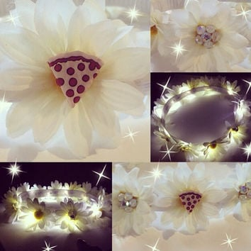 PIZZA LED Flower crown for EDC Raves Coachella Music Festivlas