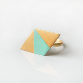 Geometric mint parallelogram ring
