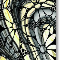 Marbled - Gray And Yellow Flower Art By Sharon Cummings Metal Print