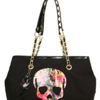 Betseyville - Black Floral Skull Tote | Bags & Wallets