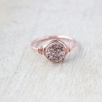 Petite Round Druzy Ring - Choose a Color
