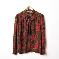 SUMMER SALE 30% OFF - 60s Paisley Bow Ladies Shirt from Lady Manhattan.