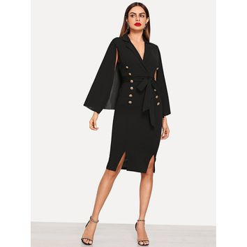 Cape Sleeve Double Breasted Dress