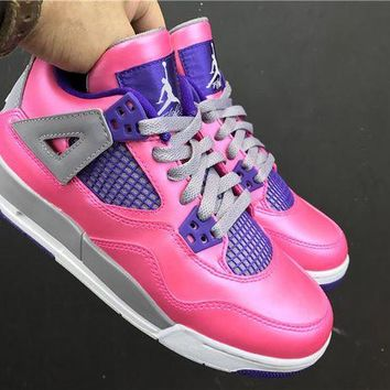"DCCKIG3 Whosale Online 4 Air Jordan 4 Retro GS""Pink Flash�487724-607 Women Sneaker"