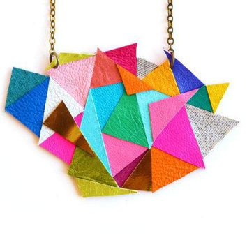 Triangle Bib Necklace Geometric Necklace Rainblow Color Block Kaleidoscope Leather Necklace