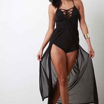 Corset Lace-Up Slit Mesh Romper Dress | UrbanOG