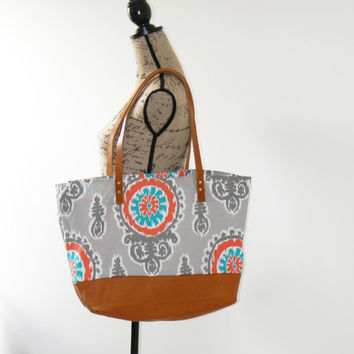 Large Canvas and Leather Tote/ Canvas Weekender Bag/ Canvas Diaper Bag/ Leather Canvas Shoulder Bag/ Grey, Orange, Turquoise Print
