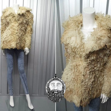 Vintage 70s Mongolian Fur Coat Tibetan Lamb Shaggy Shearling Jacket Boho Oversized Jacket Curly Hair Bohemian Festival Hippie Jacket Furry