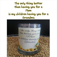 Grandma Mom Gift Candles, mothers day Soy Candle in Fresh Cut Rose scent vegan