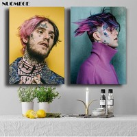 NUOMEGE Lil Peep Poster Modern And Contemporary Silk Fabric Hip Hop Singer Painting Wall Art Pictures For Living Room Home Decor