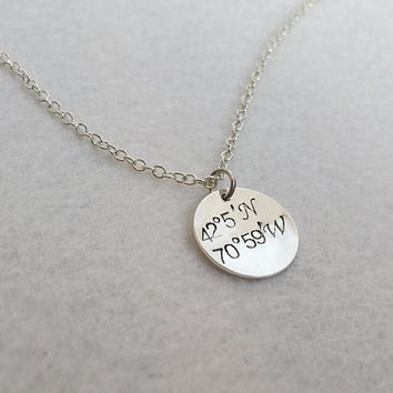 Silver Coordinates Necklace, silver coordinates, silver necklace, silver jewelry, sterling silver necklace Coordinates necklace Gift for her
