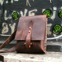 iPad Travel bag  small leather messenger by LUSCIOUSLEATHERNYC