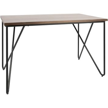 Loft Mid-Century Modern Office Desk with Walnut Wood Top, Black