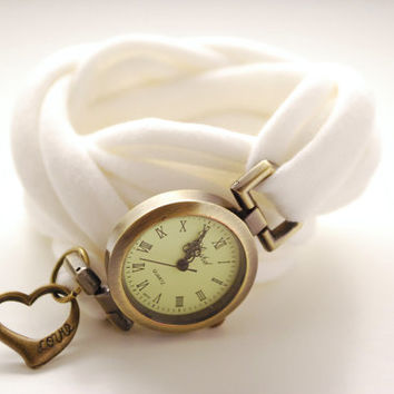 IVORY Round Antique Bronze Wrap Watch HEART Bracelet Stretch Wrist Watch Fashion accessory Women Teens Wrist Tattoo Cover